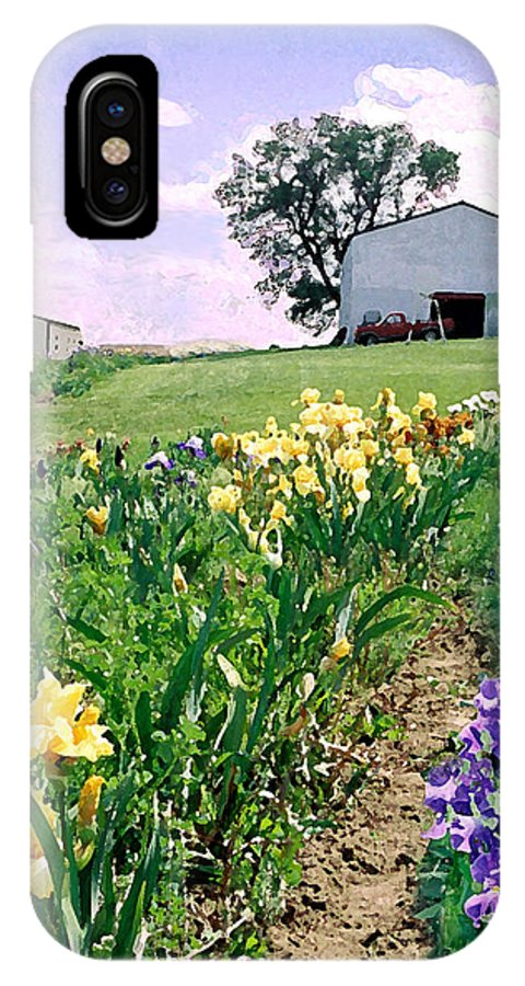 Landscape Painting IPhone X Case featuring the photograph Iris Farm by Steve Karol