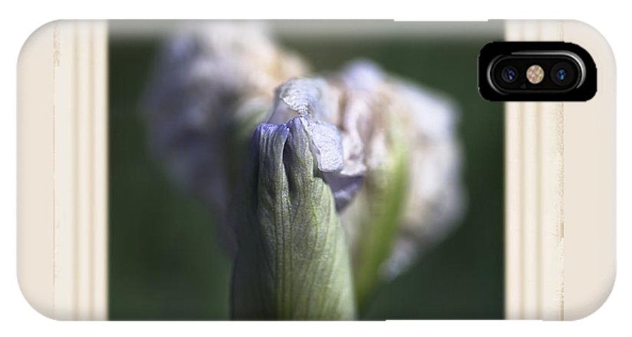 Iris IPhone X Case featuring the photograph Iris Flower Starts To Reveal And Design by Joy Watson