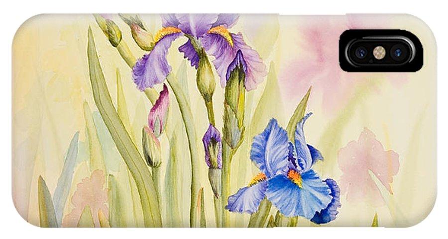 Flower IPhone X Case featuring the painting Iris Garden Ll by Mishel Vanderten