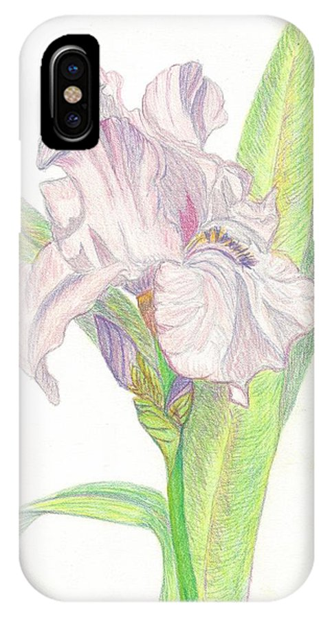 Iris IPhone X Case featuring the drawing Iris by Linda Humes