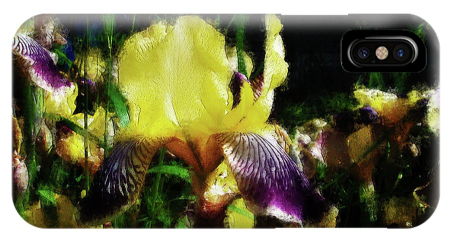 Iris IPhone X Case featuring the photograph Iris Purple And Yellow by Jo-Anne Gazo-McKim