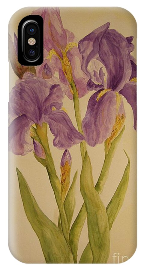 Flower IPhone X Case featuring the painting Iris by Vicki Housel