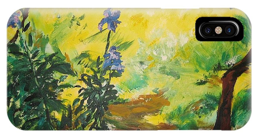 Sunlight IPhone X Case featuring the painting IRISES And SUNLIGHT by Lizzy Forrester