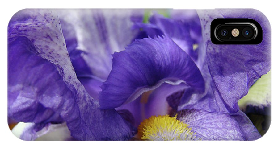 Iris IPhone X Case featuring the photograph Irises Artwork Purple Iris Flowers Art Prints Canvas Baslee Troutman by Baslee Troutman