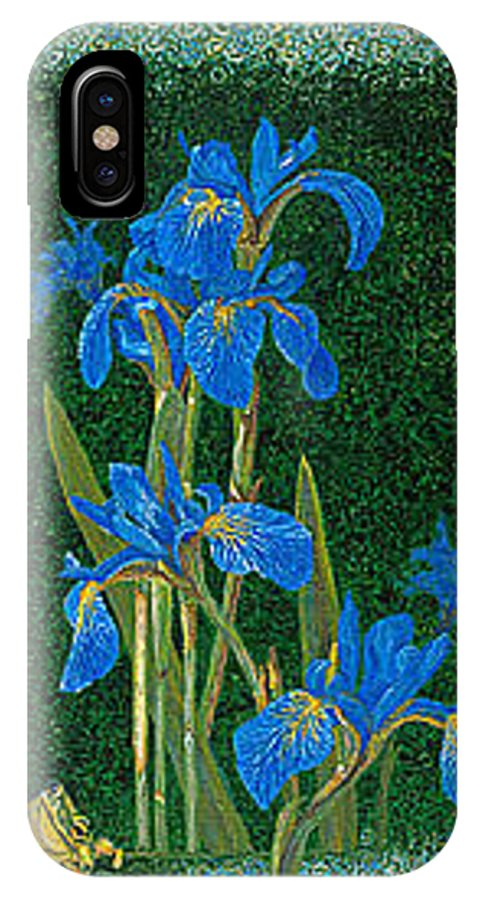 Irises IPhone Case featuring the painting Irises Blue Flowers Lucky Love Frog Friends Fine Art Print Giclee High Quality Exceptional Colors by Baslee Troutman