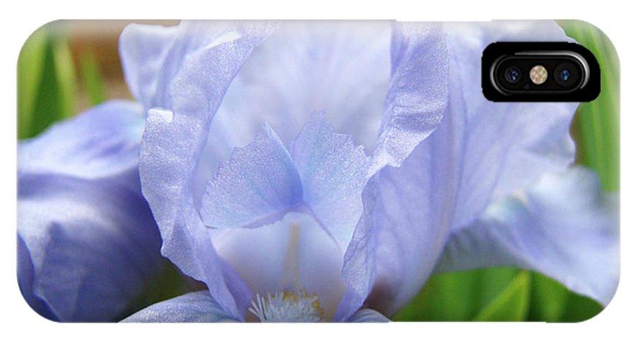 �irises Artwork� IPhone X Case featuring the photograph Irises Blue Iris Flower Light Blue Art Flower Soft Baby Blue Baslee Troutman by Baslee Troutman