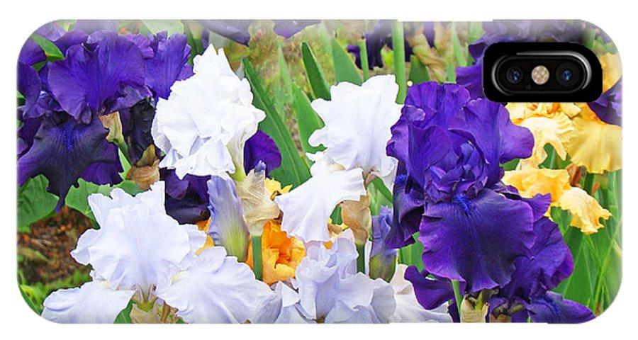 Iris IPhone X Case featuring the photograph Irises Flowers Garden Botanical Art Prints Baslee Troutman by Baslee Troutman