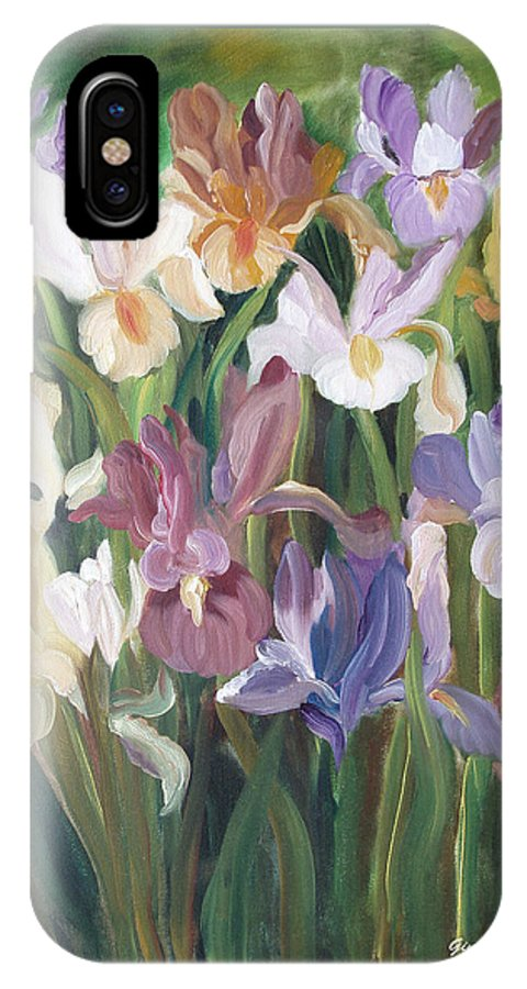 Irises IPhone X Case featuring the painting Irises by Gina De Gorna