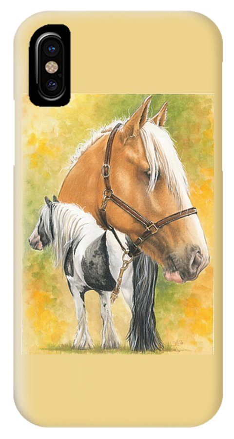 Draft Horse IPhone Case featuring the mixed media Irish Cob by Barbara Keith