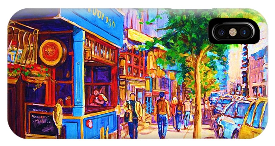 Irish Pub On Crescent Street Montreal Street Scenes IPhone X Case featuring the painting Irish Pub On Crescent Street by Carole Spandau