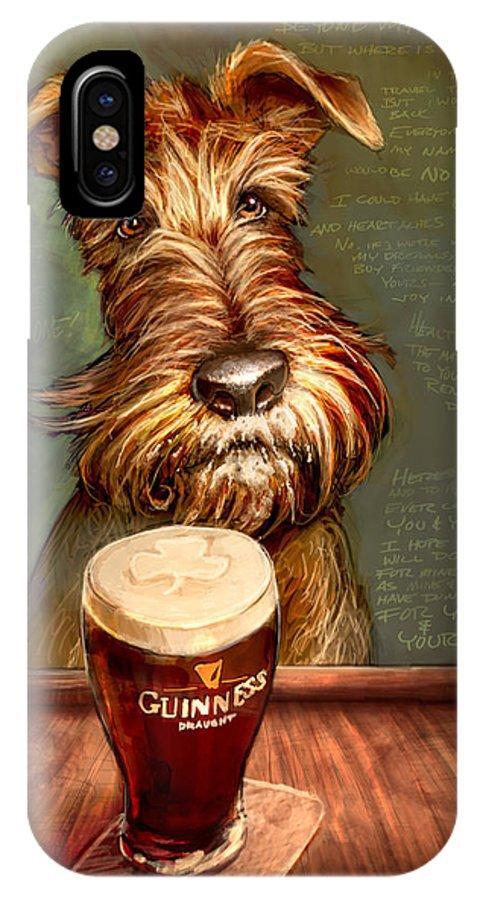 Irish Terrier IPhone X Case featuring the painting Irish Toast by Sean ODaniels