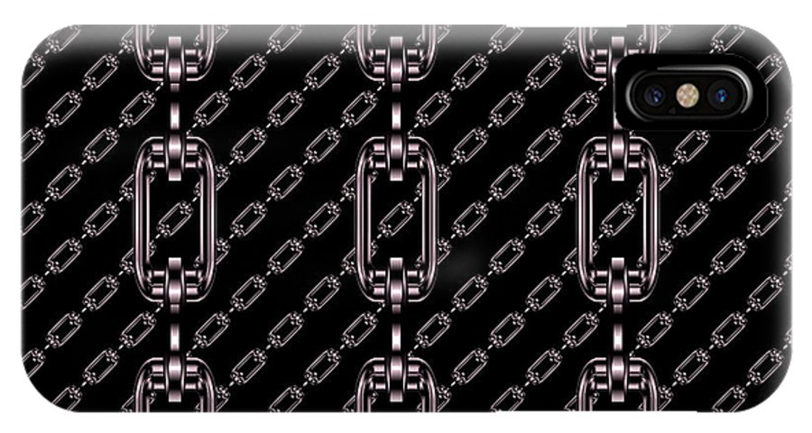 Seamless IPhone X / XS Case featuring the digital art Iron Chains With Black Background Seamless Texture by Miroslav Nemecek