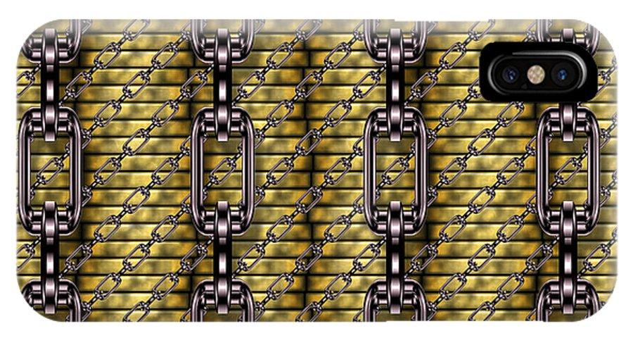 Seamless IPhone X / XS Case featuring the digital art Iron Chains With Money Seamless Texture by Miroslav Nemecek