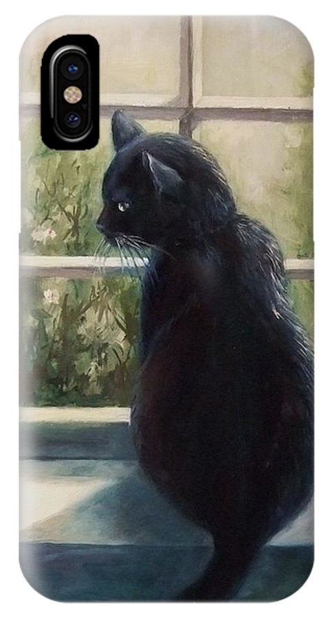 Cat IPhone X Case featuring the painting Isabella's Window by Ruth Stromswold