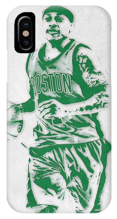 Isaiah Thomas IPhone X Case featuring the mixed media Isaiah Thomas Boston Celtics Pixel Art by Joe Hamilton