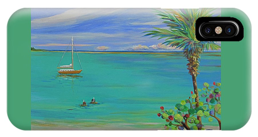 Boat IPhone X Case featuring the painting Islamorada Snorkeling by Anne Marie Brown