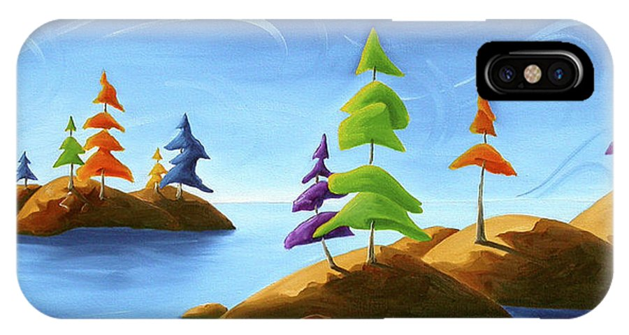 Landscape IPhone X Case featuring the painting Island Carnival by Richard Hoedl