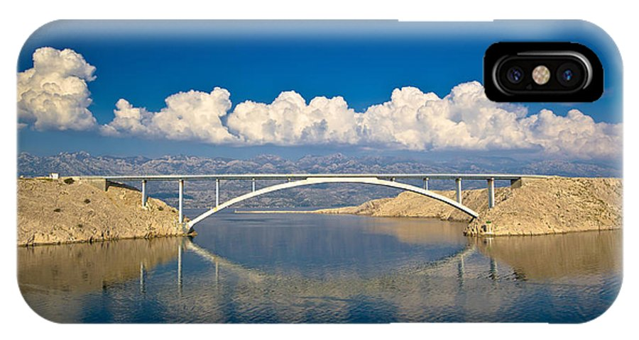 Blue IPhone X / XS Case featuring the photograph Island Of Pag Bridge And Velebit Mountain by Brch Photography
