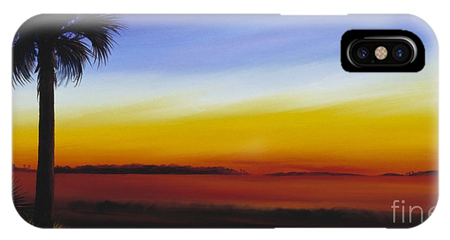 Palmetto Tree IPhone X Case featuring the painting Island River Palmetto by James Christopher Hill
