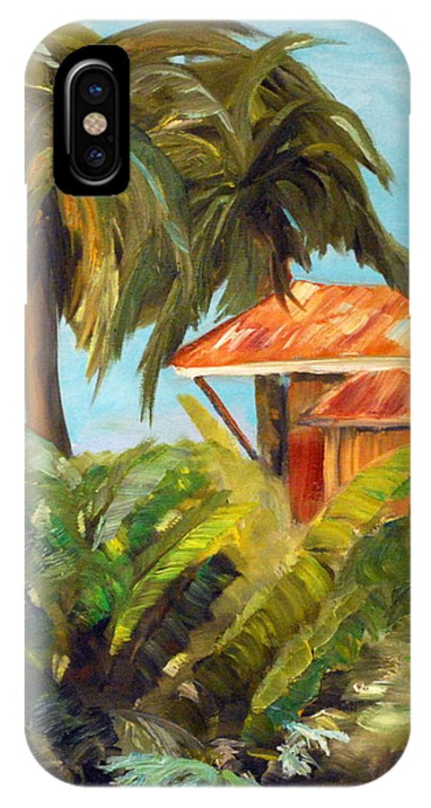 Tropical IPhone X Case featuring the painting Island Sugar Shack by Phil Burton