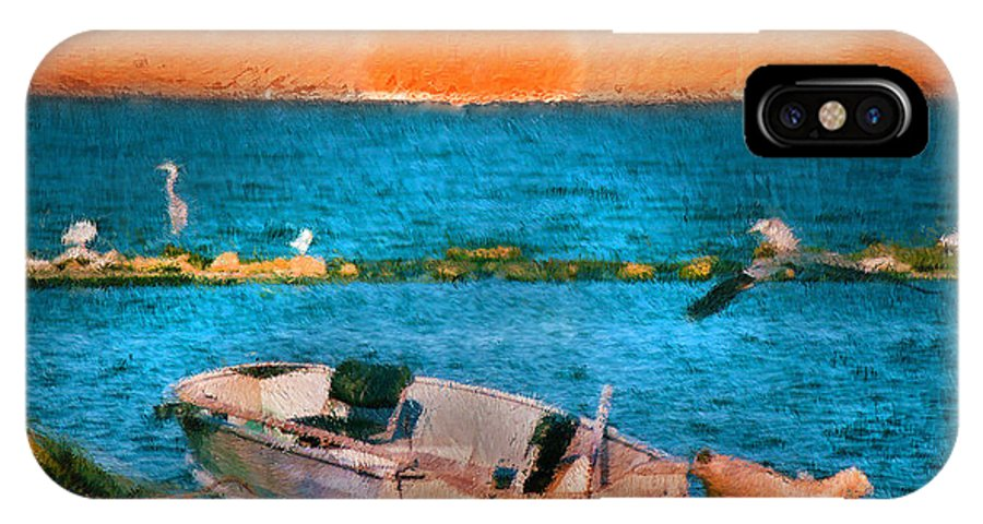 Island IPhone X Case featuring the painting Island Sunset by Kenneth Krolikowski