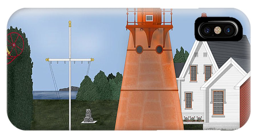 Lighthouse IPhone X Case featuring the painting Isle La Motte Vermont Lighthouse by Anne Norskog