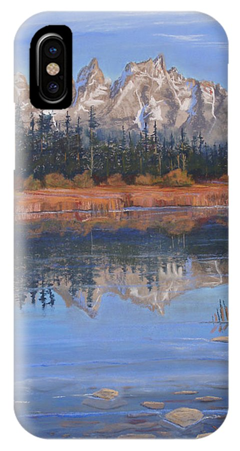 Grand Tetons IPhone X Case featuring the pastel Isn't It Grand by Heather Coen