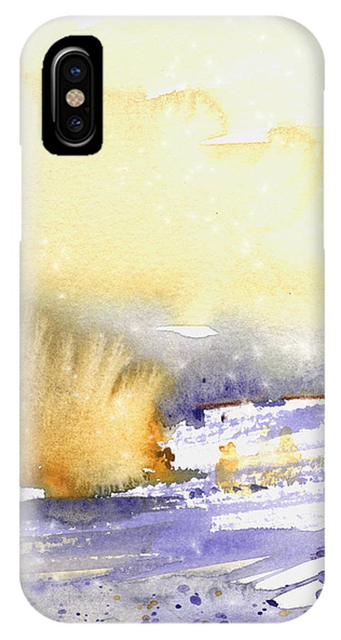 Watercolour IPhone X Case featuring the painting It Is Always Snowing Somewhere 02 by Miki De Goodaboom
