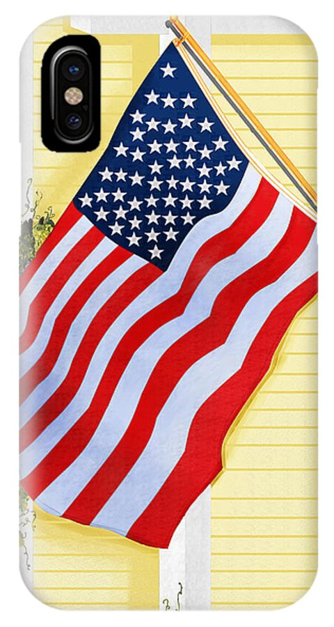 U.s. Flag IPhone X Case featuring the painting It Will Fly Until They All Come Home by Anne Norskog