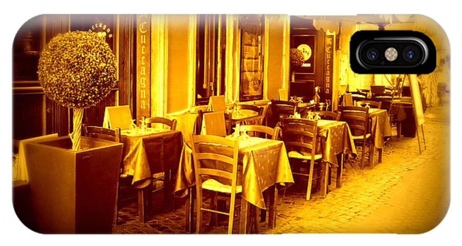 Italy IPhone X Case featuring the photograph Italian Cafe In Golden Sepia by Carol Groenen
