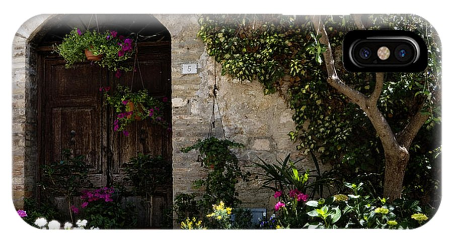 Flower IPhone X Case featuring the photograph Italian Front Door Adorned With Flowers by Marilyn Hunt