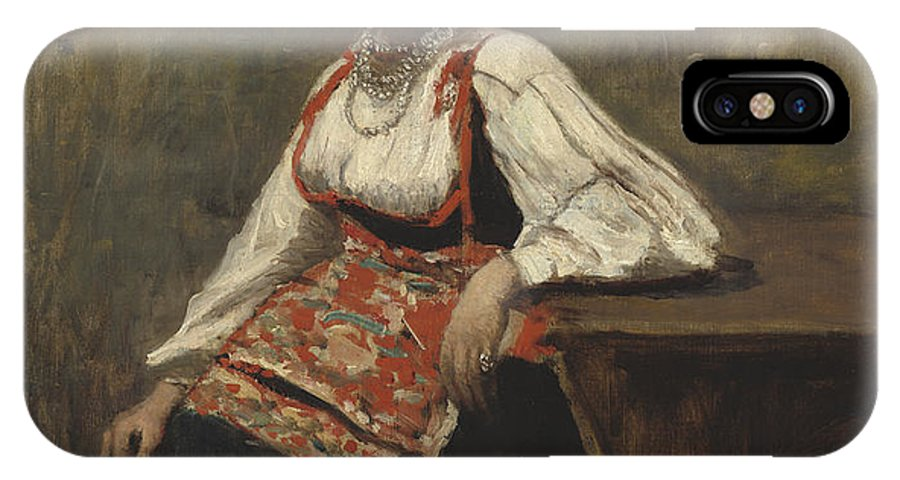 IPhone X Case featuring the painting Italian Girl by Jean-baptiste-camille Corot