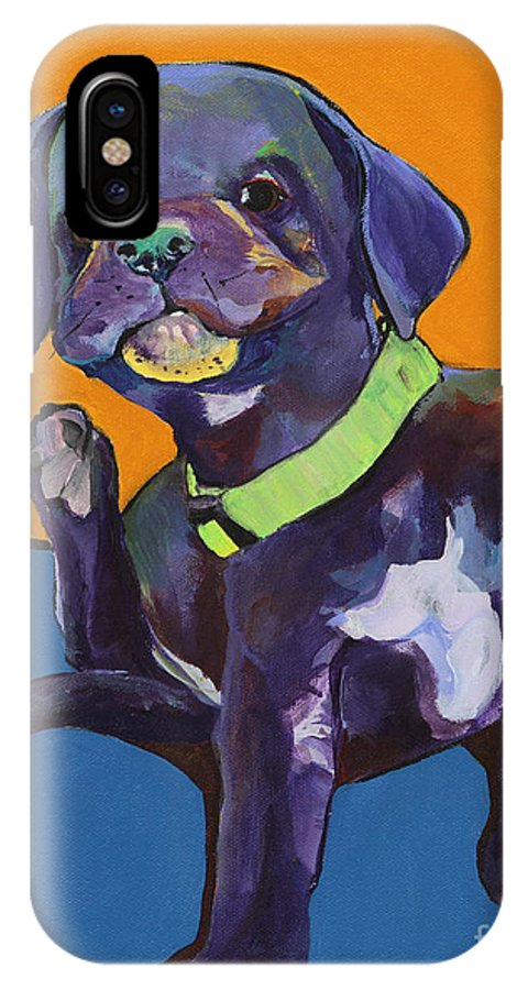 Black Lab Puppy IPhone X Case featuring the painting Itchy by Pat Saunders-White