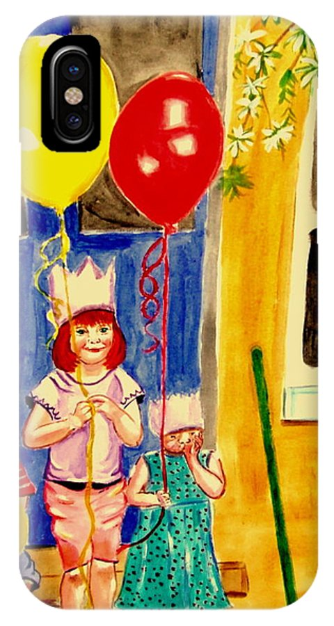 Childhood IPhone X Case featuring the painting Its My Party by Rusty Gladdish