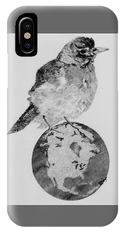 Small Bird IPhone X Case featuring the drawing It's Our World Too by Wendy Brunell
