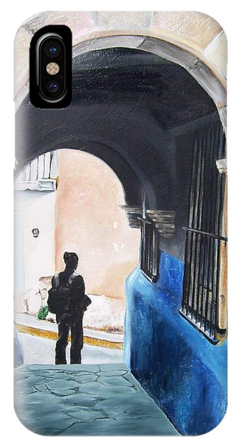 Archway IPhone X Case featuring the painting Ivan In The Street by Laura Pierre-Louis