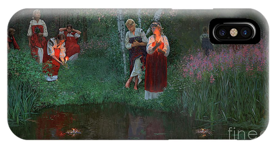 Girs IPhone X Case featuring the painting Ivan Kupala. Fortunetelling For Wreaths. by Simon Kozhin