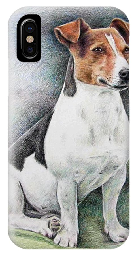 Dog IPhone X Case featuring the drawing Jack Russell Terrier by Nicole Zeug