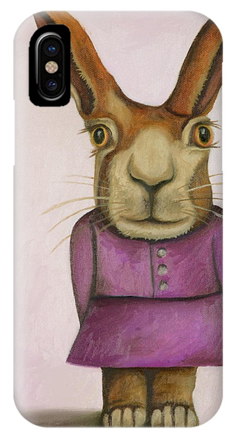 Rabbit IPhone X Case featuring the painting Jackie by Leah Saulnier The Painting Maniac