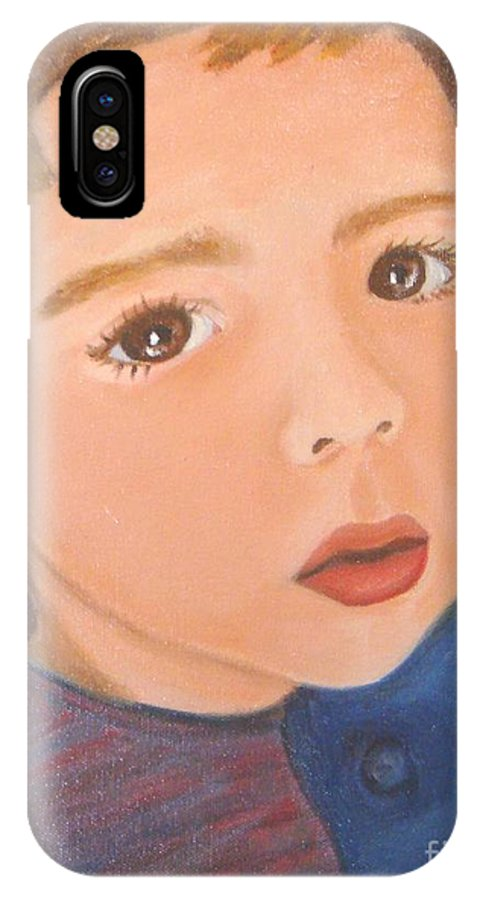 Portrait IPhone X Case featuring the painting Jackson by Laurie Morgan