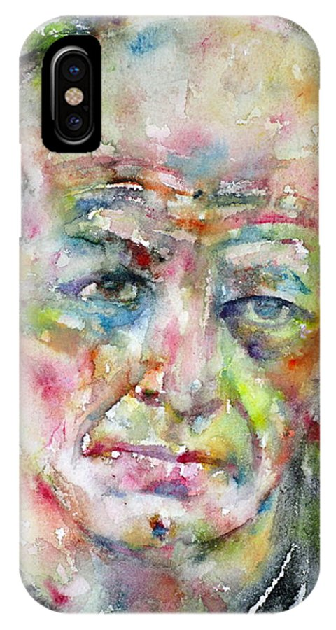 Pollock IPhone X Case featuring the painting Jackson Pollock - Watercolor Portrait.3 by Fabrizio Cassetta