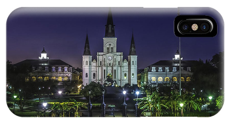 Jackson Square IPhone X Case featuring the photograph Jackson Square And St. Louis Cathedral At Dawn, New Orleans, Louisiana by Chris Coffee