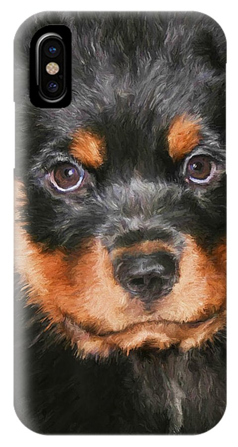 Rottweiler IPhone X Case featuring the painting Jacob by David Wagner