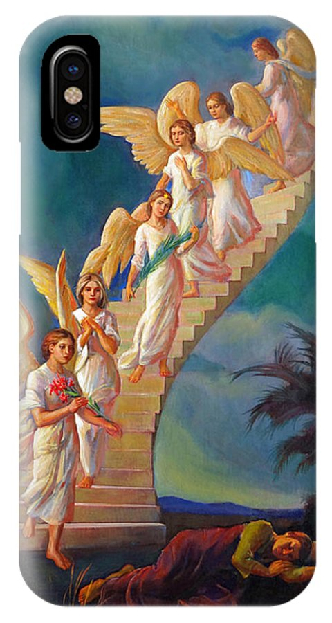Jacob IPhone X Case featuring the painting Jacob's Ladder - Jacob's Dream by Svitozar Nenyuk