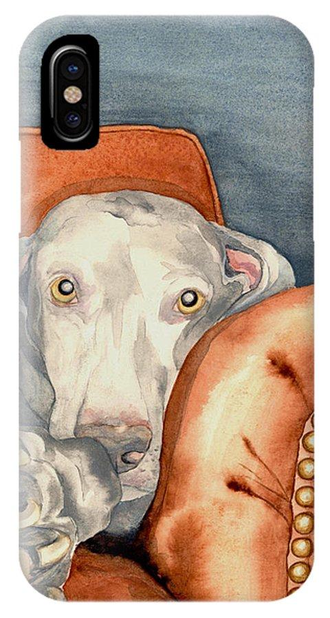 Weimaraner IPhone X Case featuring the painting Jade by Brazen Design Studio
