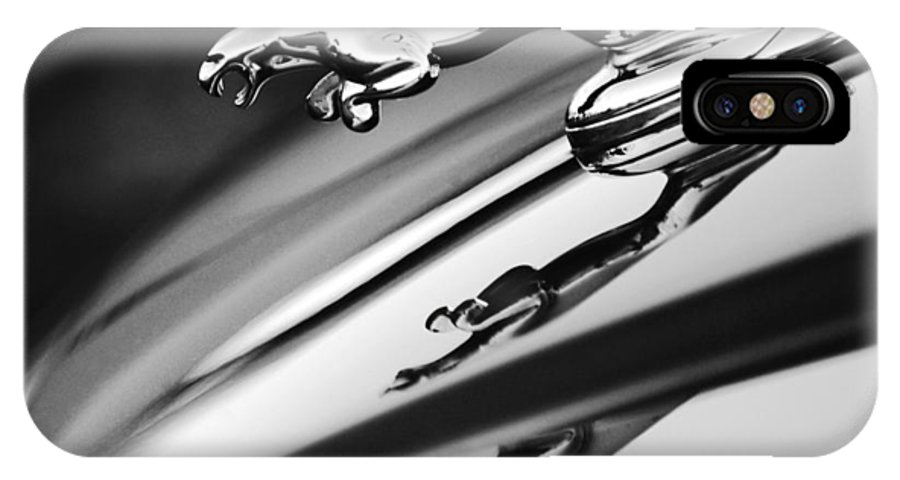 Black And White IPhone X Case featuring the photograph Jaguar Car Hood Ornament Black And White by Jill Reger