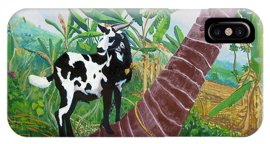 Tropical IPhone X Case featuring the painting Jamaican Goat In A Tree by D T LaVercombe