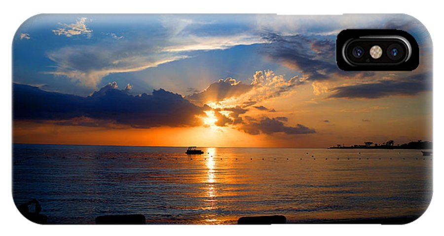 Photography IPhone X Case featuring the digital art Jamaican Sunset Rays By Steve Ellenburg by Steve Ellenburg