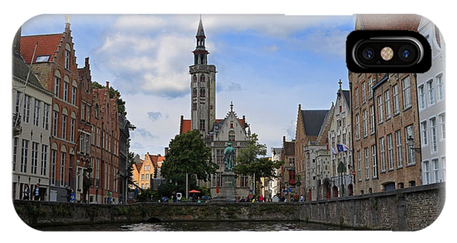 Poortersloge IPhone X Case featuring the photograph Jan Van Eyck Square With The Poortersloge From The Canal In Bruges by Louise Heusinkveld