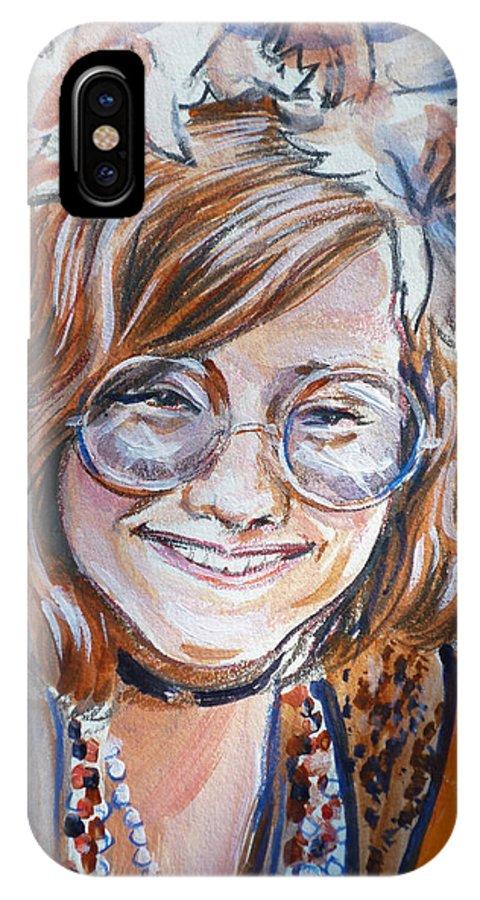 Janis Joplin IPhone X Case featuring the painting Janis Joplin by Bryan Bustard